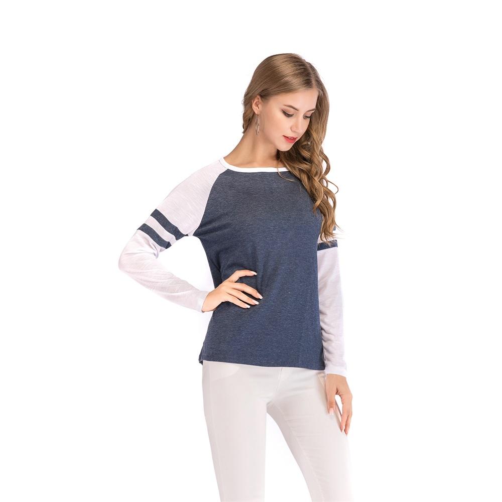 Fashion-Women-Ladies-Loose-Casual-Long-Sleeve-T-Shirt-Splice-Blouse-Black-Tops thumbnail 16