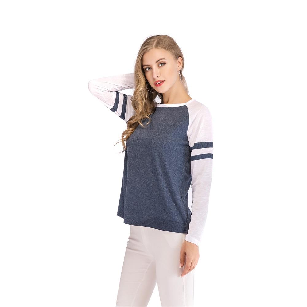 Fashion-Women-Ladies-Loose-Casual-Long-Sleeve-T-Shirt-Splice-Blouse-Black-Tops thumbnail 17