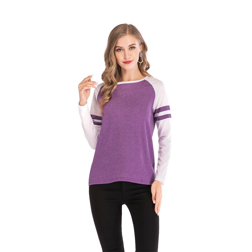 Fashion-Women-Ladies-Loose-Casual-Long-Sleeve-T-Shirt-Splice-Blouse-Black-Tops thumbnail 23