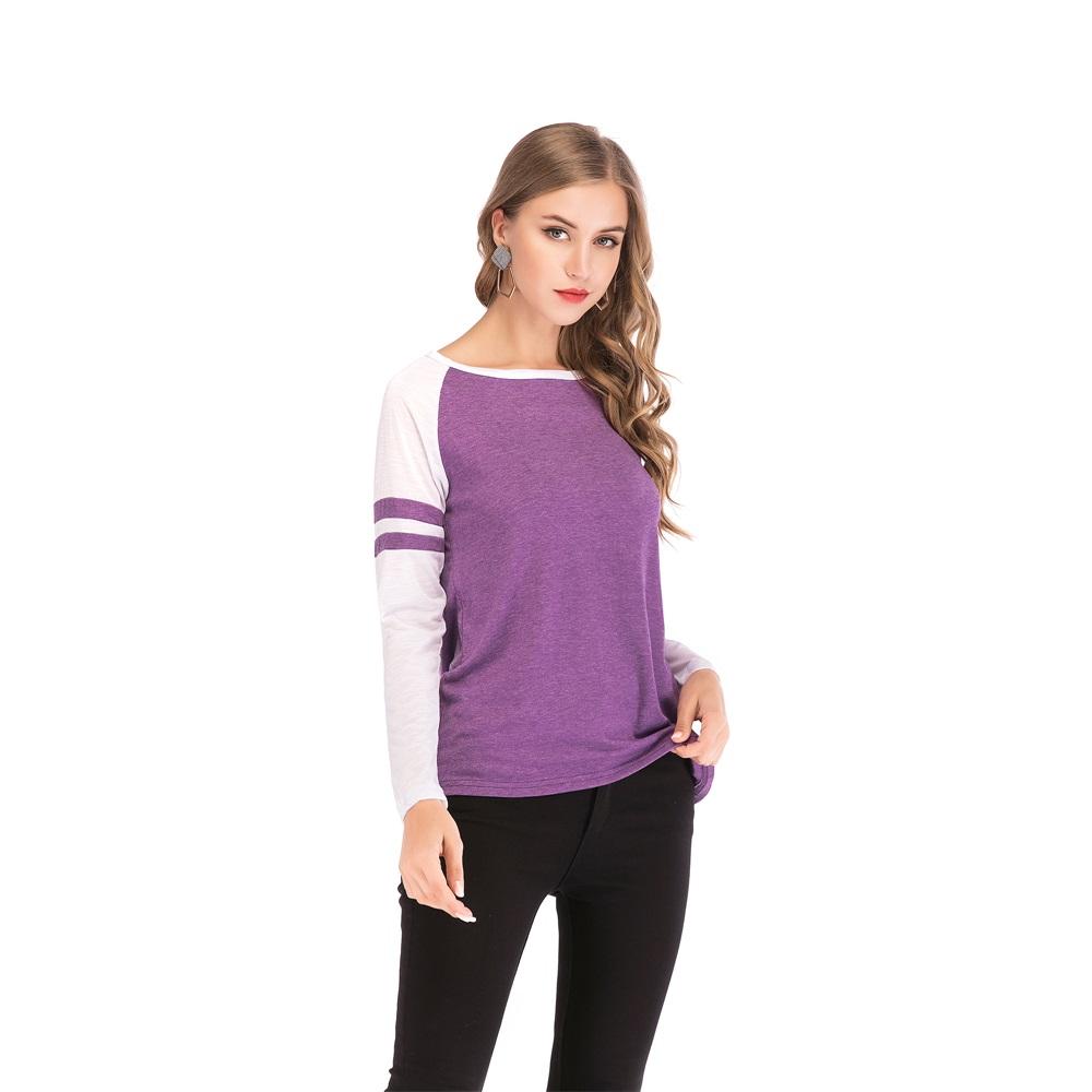 Fashion-Women-Ladies-Loose-Casual-Long-Sleeve-T-Shirt-Splice-Blouse-Black-Tops thumbnail 24