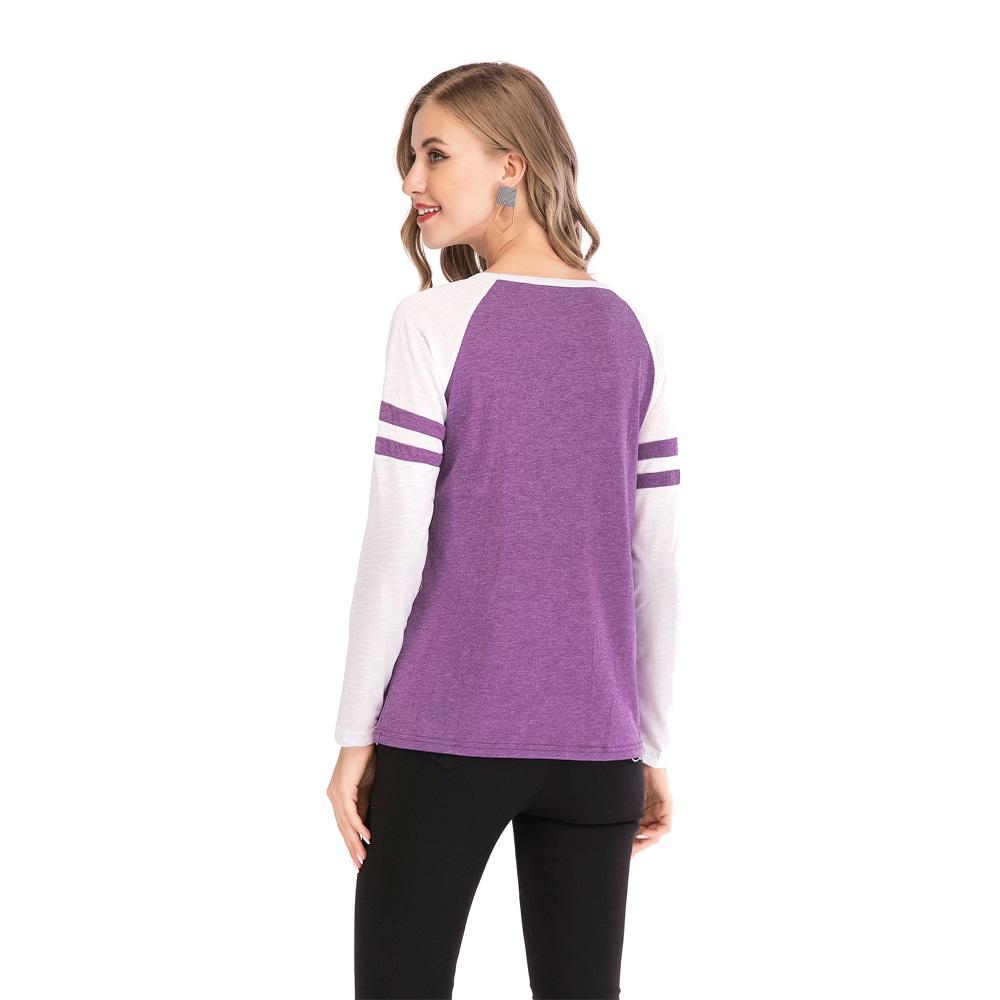 Fashion-Women-Ladies-Loose-Casual-Long-Sleeve-T-Shirt-Splice-Blouse-Black-Tops thumbnail 25