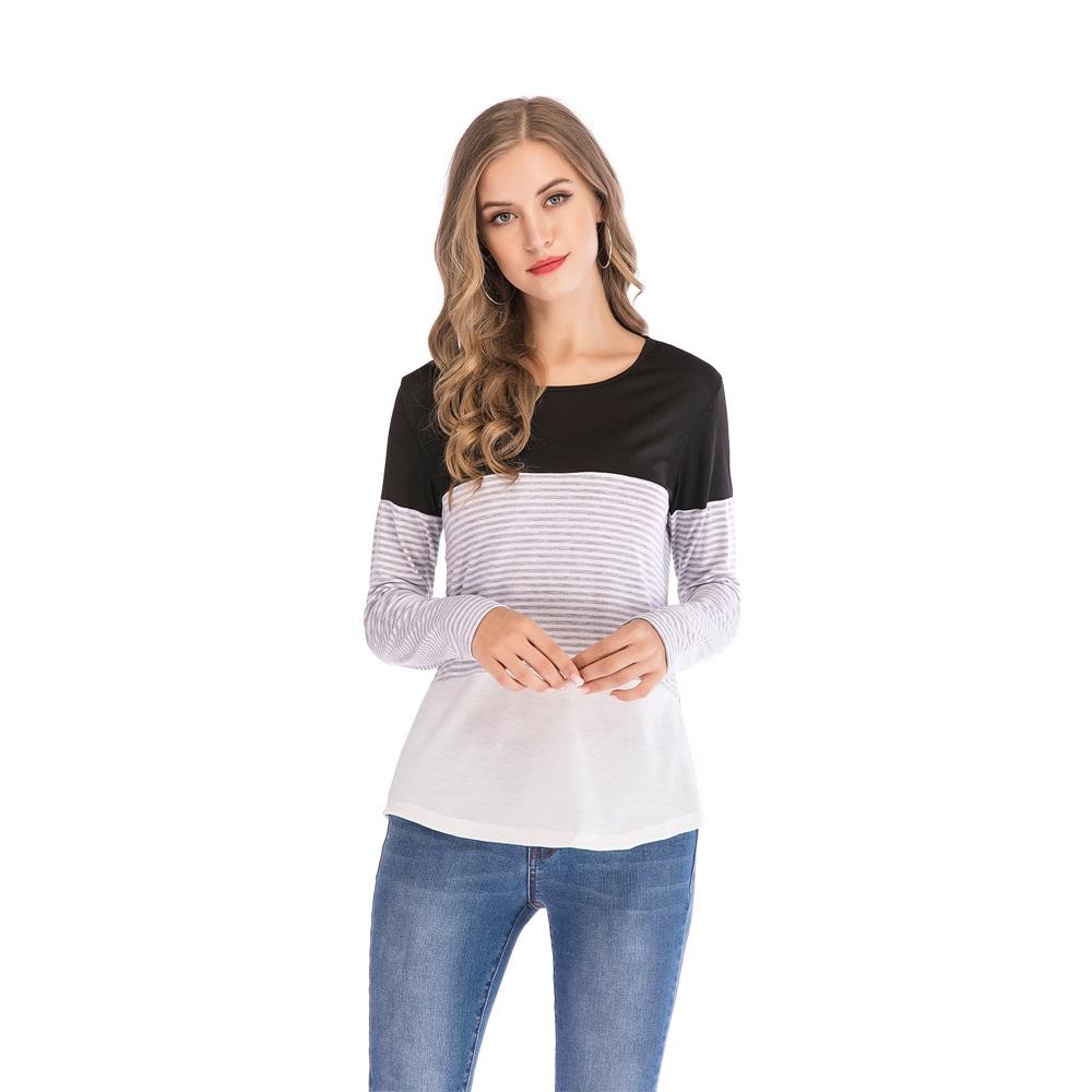 Fashion-Women-Ladies-Loose-Casual-Long-Sleeve-T-Shirt-Splice-Blouse-Black-Tops thumbnail 7