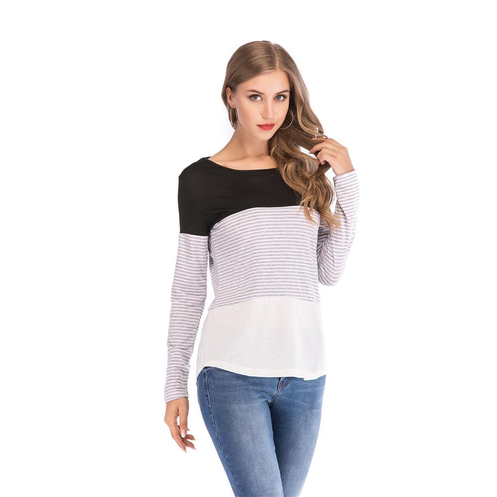 Fashion-Women-Ladies-Loose-Casual-Long-Sleeve-T-Shirt-Splice-Blouse-Black-Tops thumbnail 8