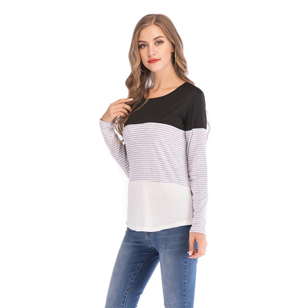 Fashion-Women-Ladies-Loose-Casual-Long-Sleeve-T-Shirt-Splice-Blouse-Black-Tops thumbnail 9