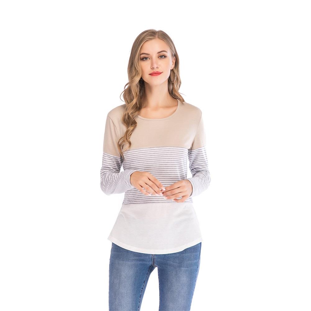 Fashion-Women-Ladies-Loose-Casual-Long-Sleeve-T-Shirt-Splice-Blouse-Black-Tops thumbnail 19