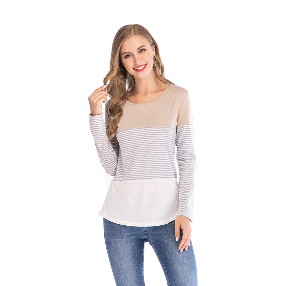 Fashion-Women-Ladies-Loose-Casual-Long-Sleeve-T-Shirt-Splice-Blouse-Black-Tops thumbnail 20