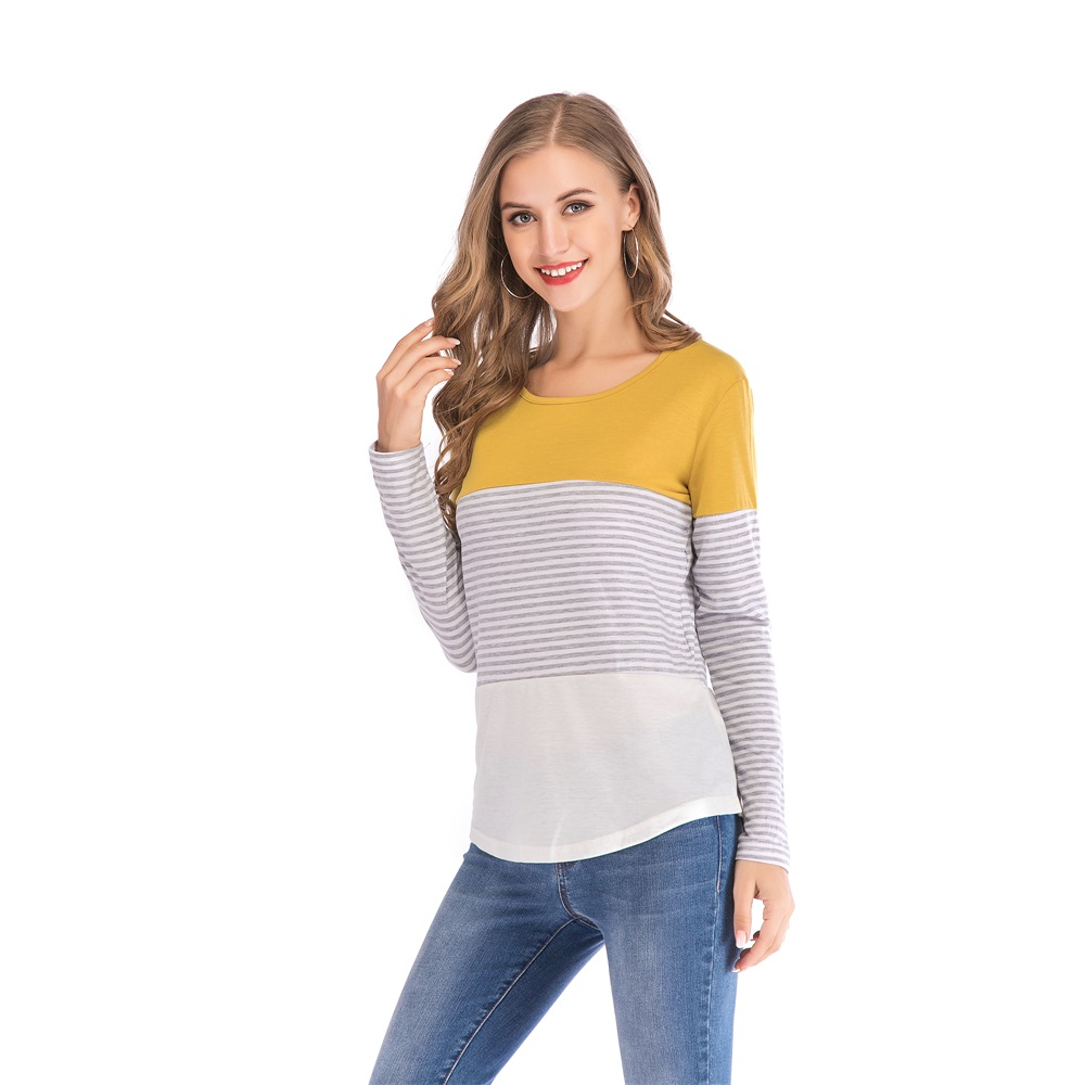 Fashion-Women-Ladies-Loose-Casual-Long-Sleeve-T-Shirt-Splice-Blouse-Black-Tops thumbnail 28