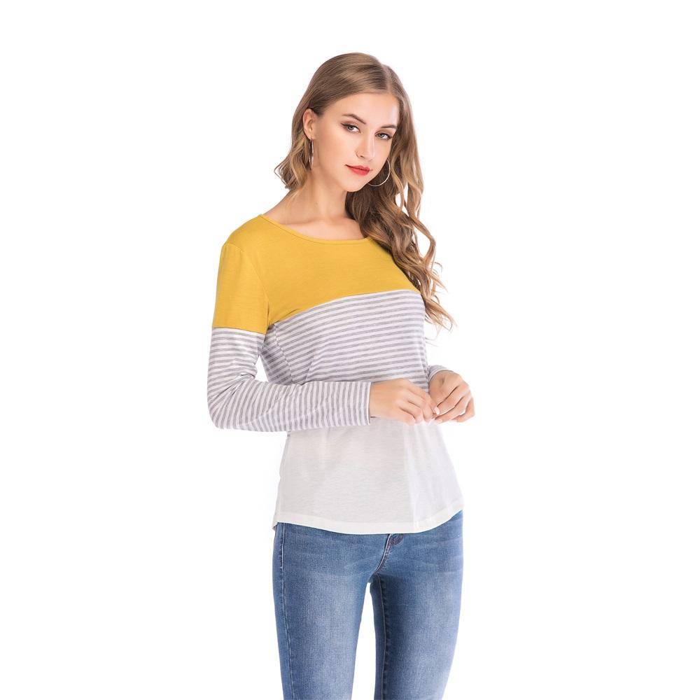 Fashion-Women-Ladies-Loose-Casual-Long-Sleeve-T-Shirt-Splice-Blouse-Black-Tops thumbnail 29