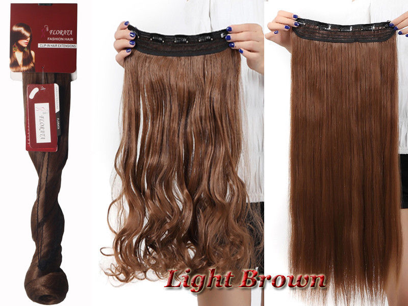 One Piece 5 Clips Clip On Synthetic Long Wavy Straight As Human Hair