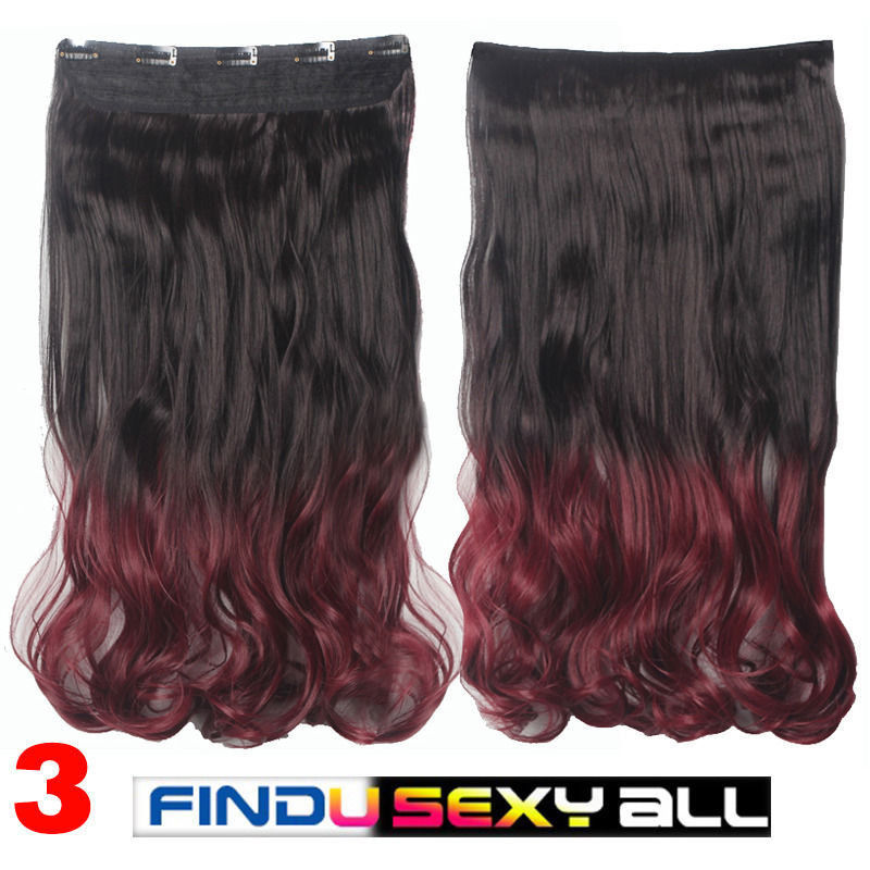 Extra Thick Long Curly Ombre One Piece Full Head Clip In Hair