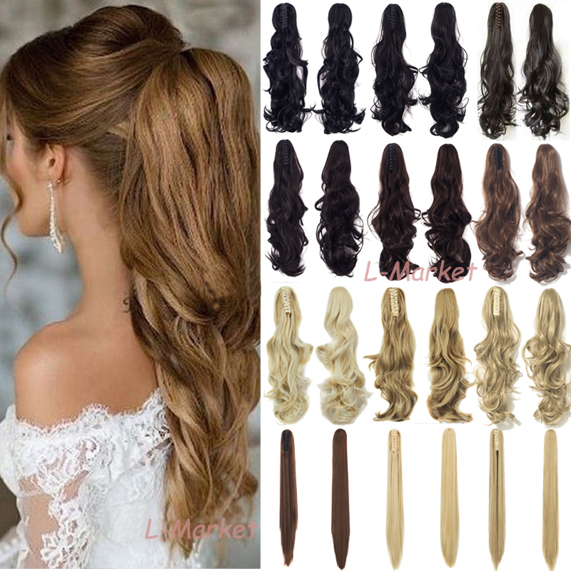 Us Mega Thick Claw Clip In Ponytail Hair Extension Solf Long
