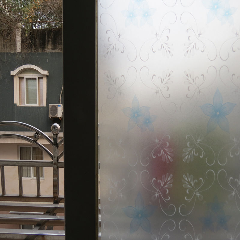 static cling frosted stained flower glass window film sticker privacy home decor ebay. Black Bedroom Furniture Sets. Home Design Ideas