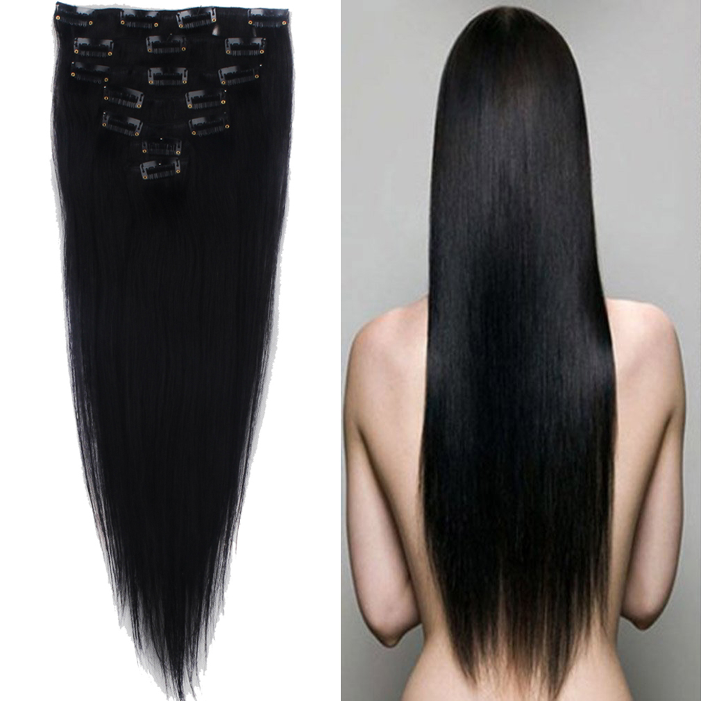 Premium Remy Hair Clip In Human Hair Extensions Full Head Strahigt