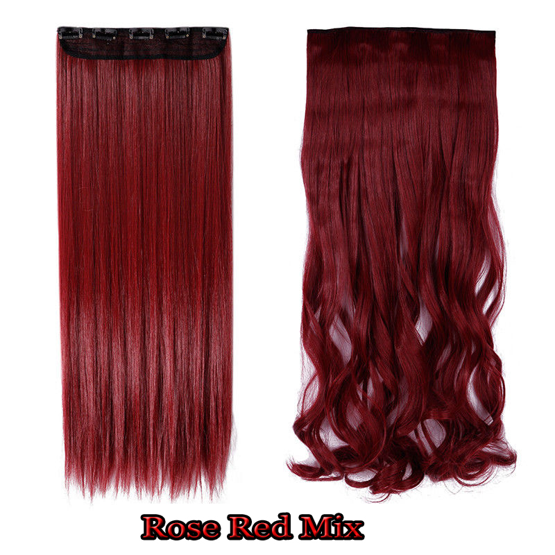 Long 24 30 One Piece 5 Clips Clip On Synthetic Long Wavy Human Hair
