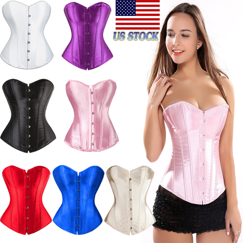 8fcccb13ef Details about Strap Sexy Women Boned Satin Corset Lace Up Bustier Dress Top  Shaper Overbust US