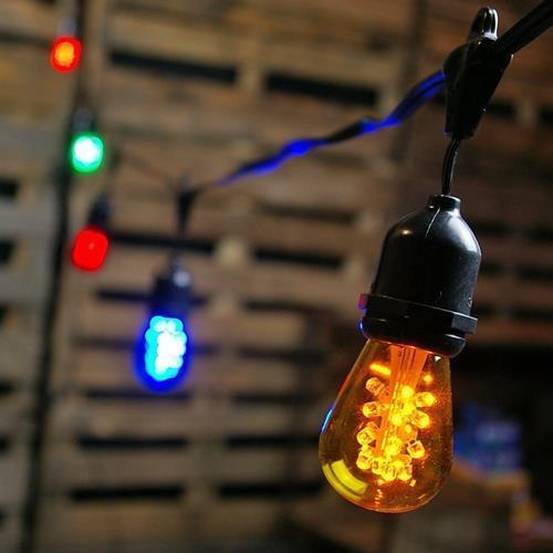 Commercial Edison Drop String Lights, 48 Foot Black Wire, Multi Color eBay