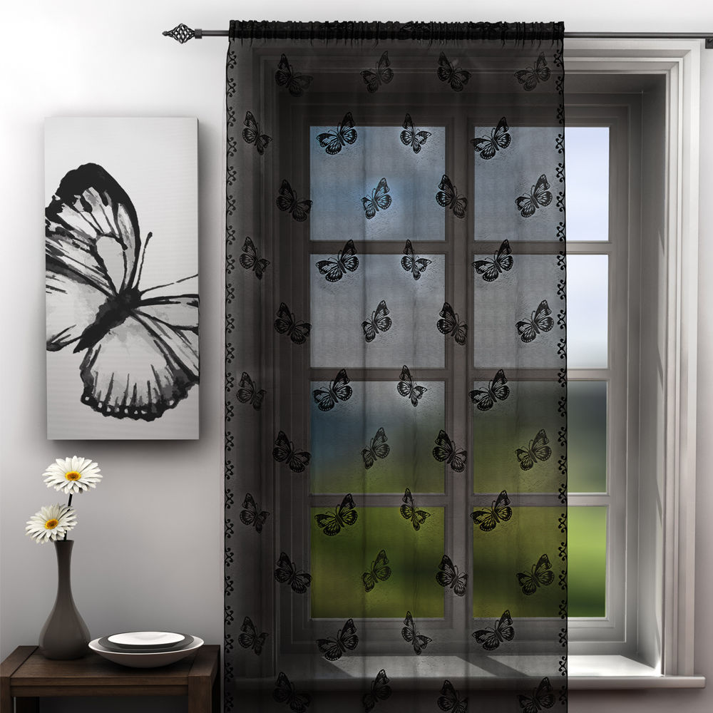 Butterfly Voile Lace Curtain Panel Net Black White Gray