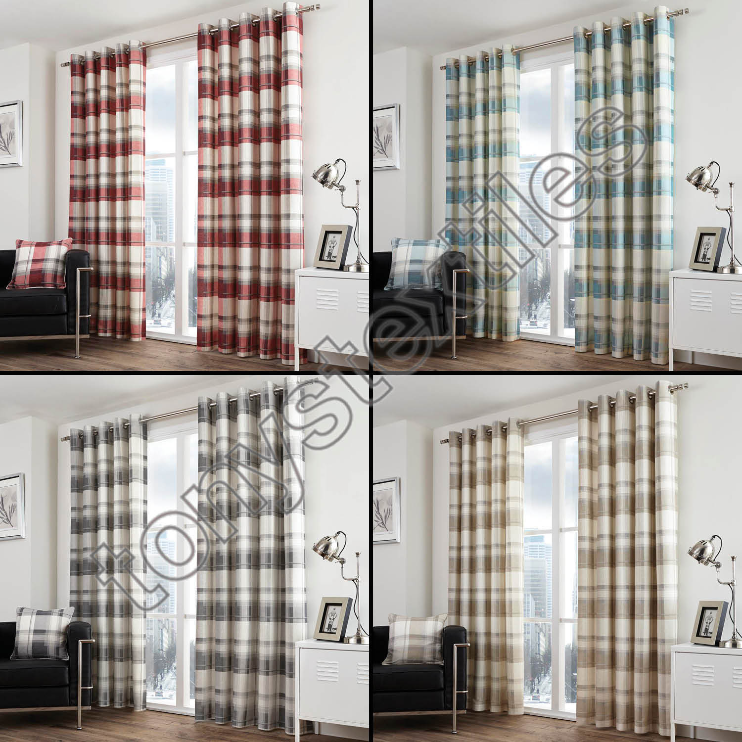 Check Striped Grommet Lined 2 Eyelet Curtain Panels Red