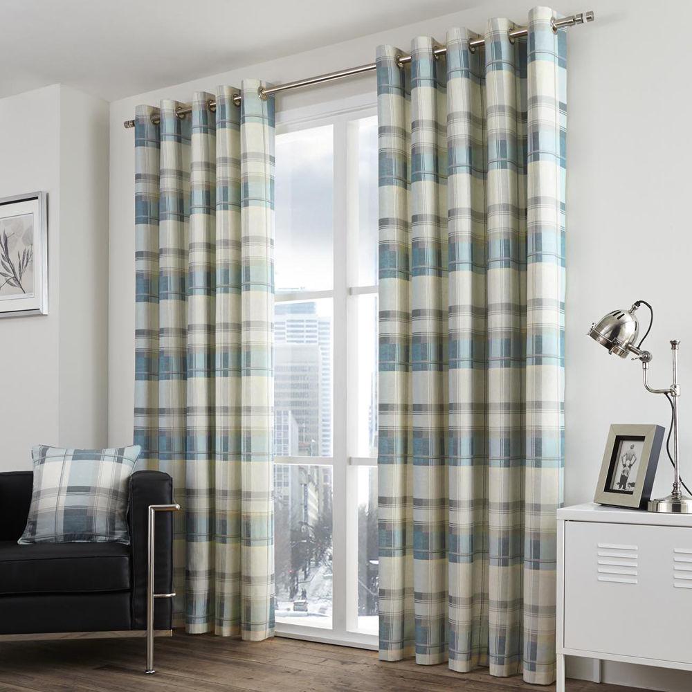 Tony-039-s-Textiles-Paire-de-rideaux-doubles-motif-carreaux-accroche-oeillets