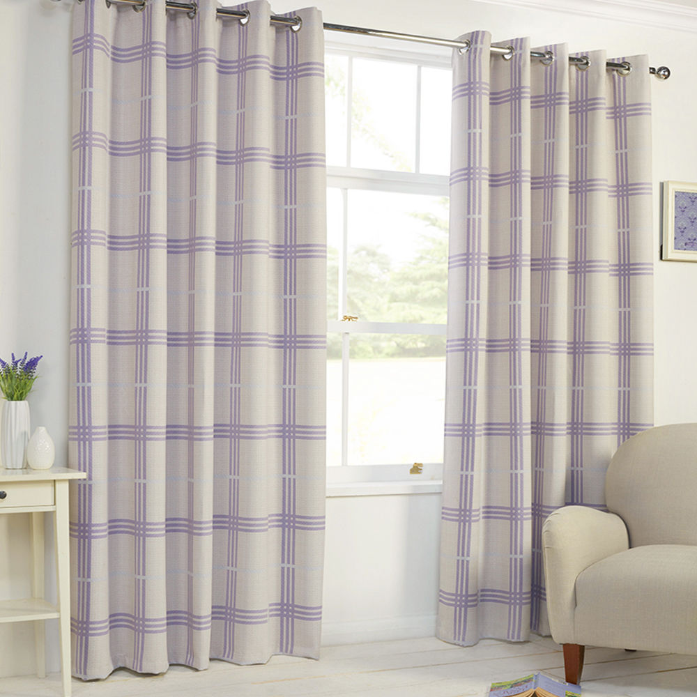 Check Thermal Solid Blackout Grommet Eyelet Top 2 Curtain