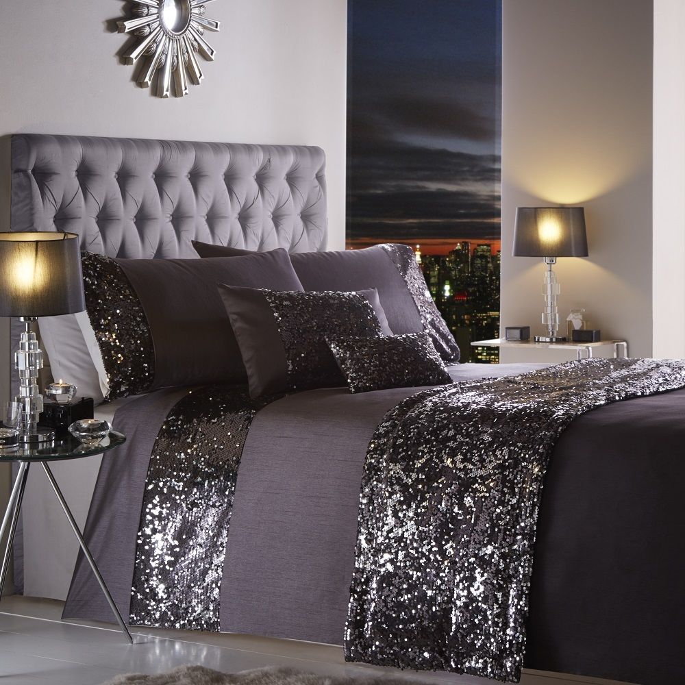 parure de lit housse de couette taie d 39 oreiller paillettes style moderne ebay. Black Bedroom Furniture Sets. Home Design Ideas