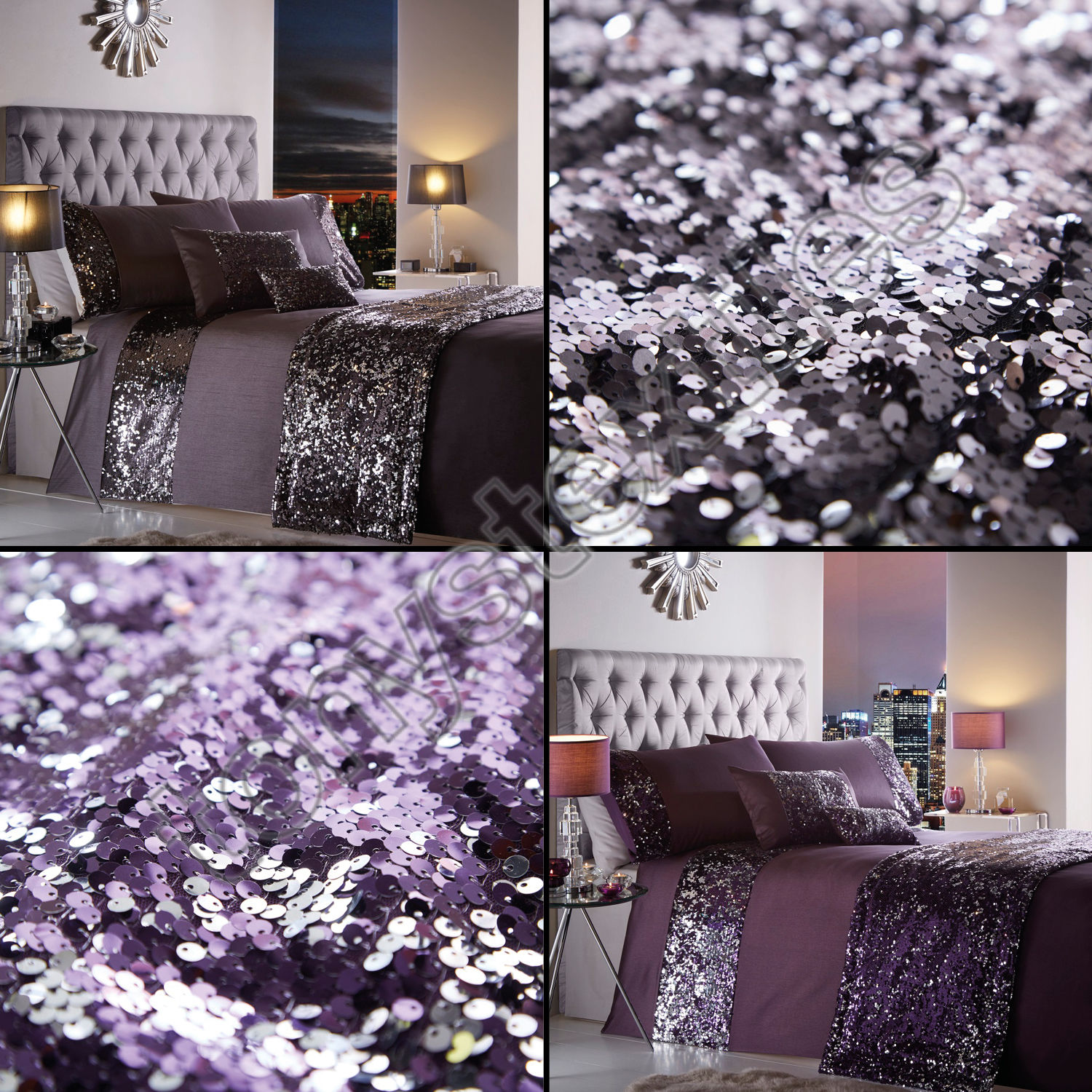 Portofino Dazzle Glitter Duvet Bedding Set With Sequins