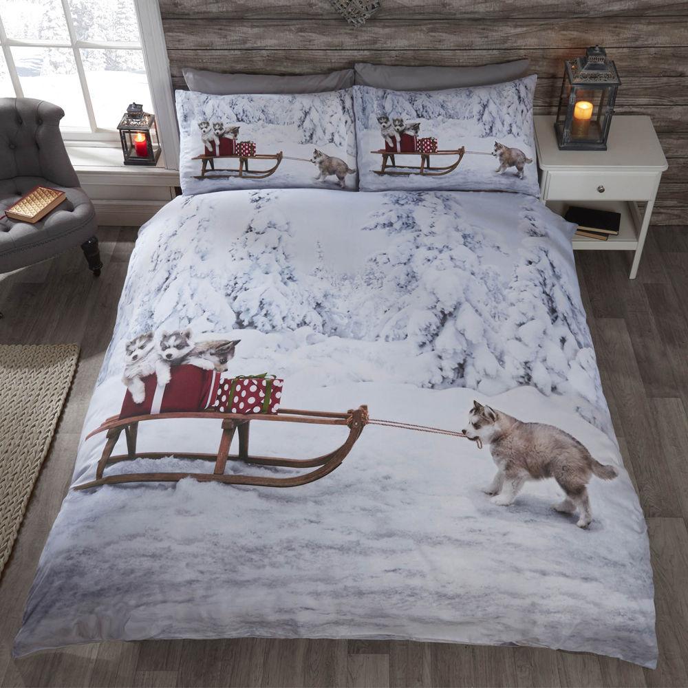 Parure-de-lit-coton-polyester-melange-motif-sur-le-theme-des-fetes-de-Noel