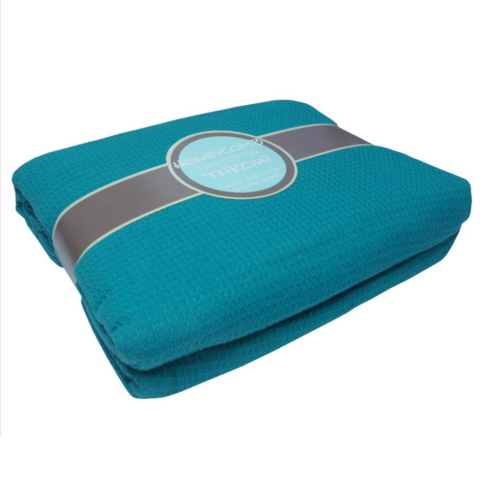 Couvre-lit-jete-de-canape-tissu-relief-style-nid-d-039-abeilles-100-coton