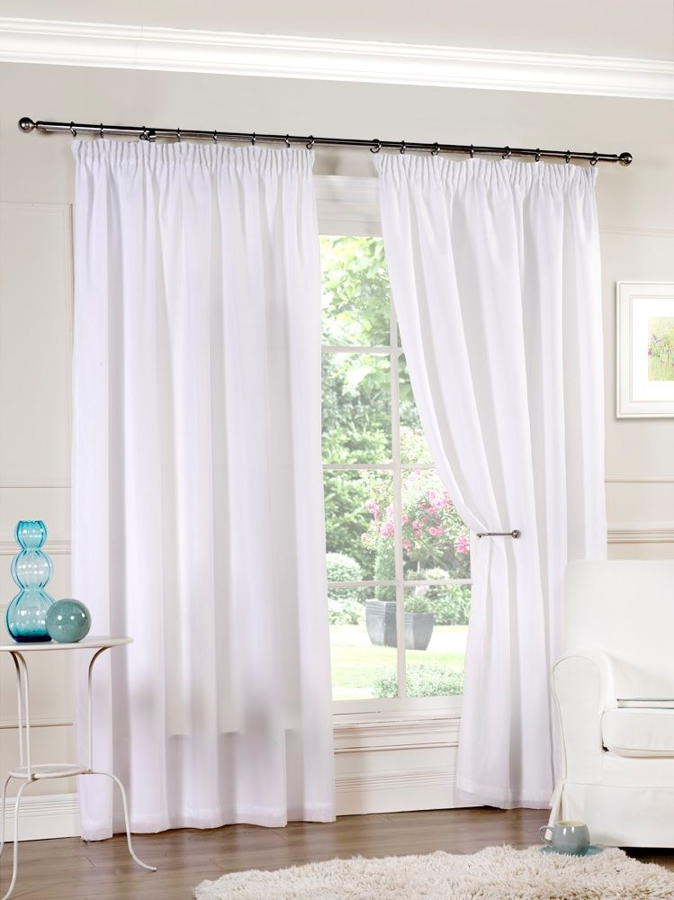 Hathaway Luxury Lined Voile Curtain Panels With Tape Top Pair