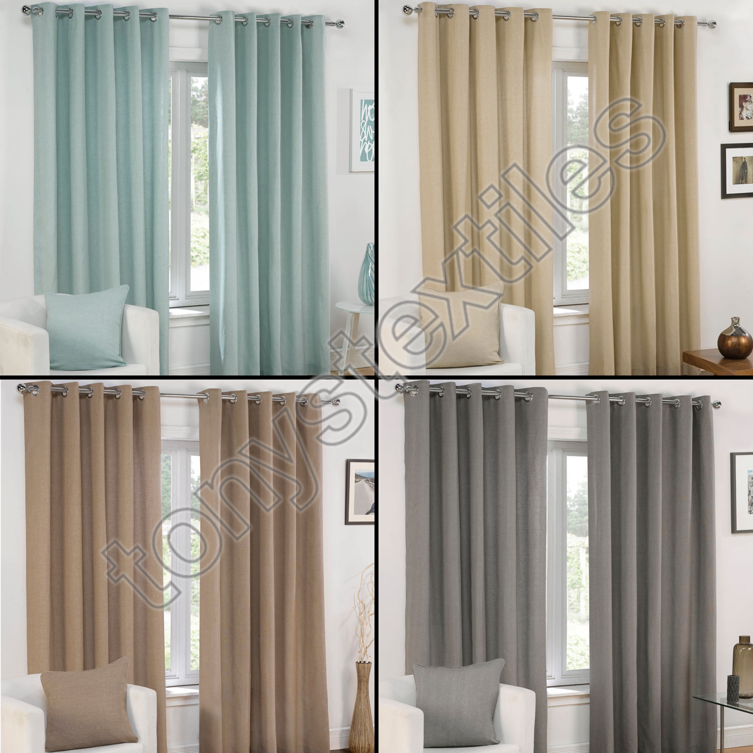 plain eyelet grommet fully lined pair window curtains cream gray blue brown ebay. Black Bedroom Furniture Sets. Home Design Ideas