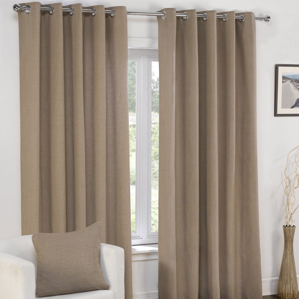 plain fully lined pair of window curtains grommet cream gray blue brown ebay. Black Bedroom Furniture Sets. Home Design Ideas