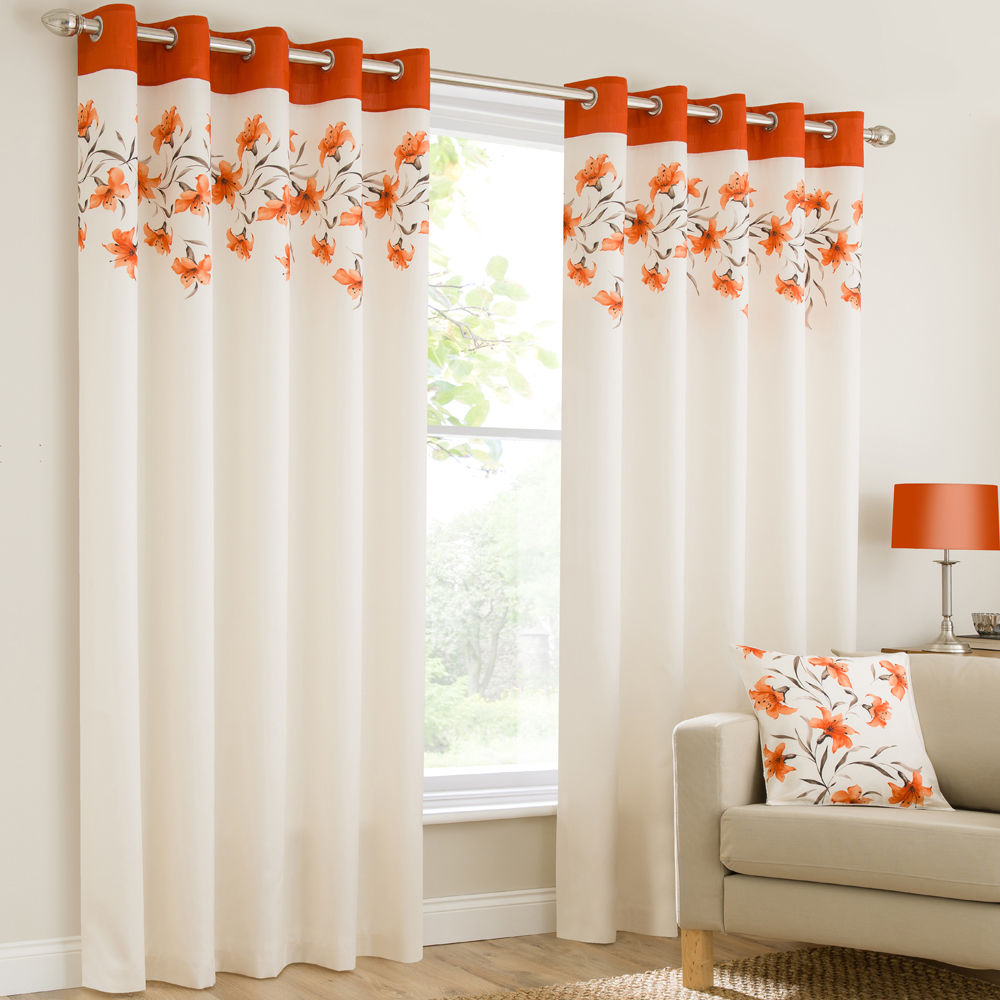 mirabel lily floral luxury curtain panels with grommets and decorative border ebay. Black Bedroom Furniture Sets. Home Design Ideas