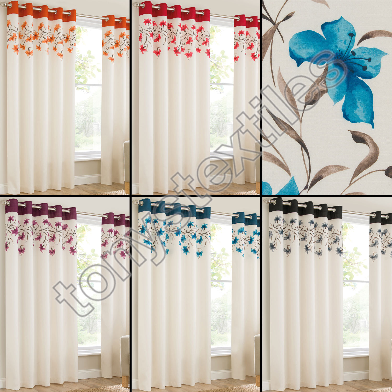 GROMMET EYELET TOP LINED PAIR WINDOW CURTAIN PANELS LILY