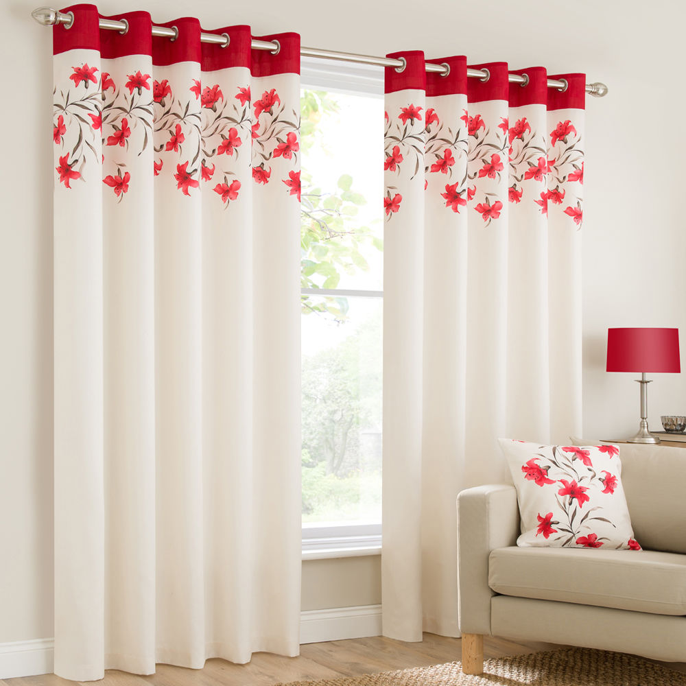 Mirabel - Lily Floral Luxury Curtain Panels with Grommets and ...