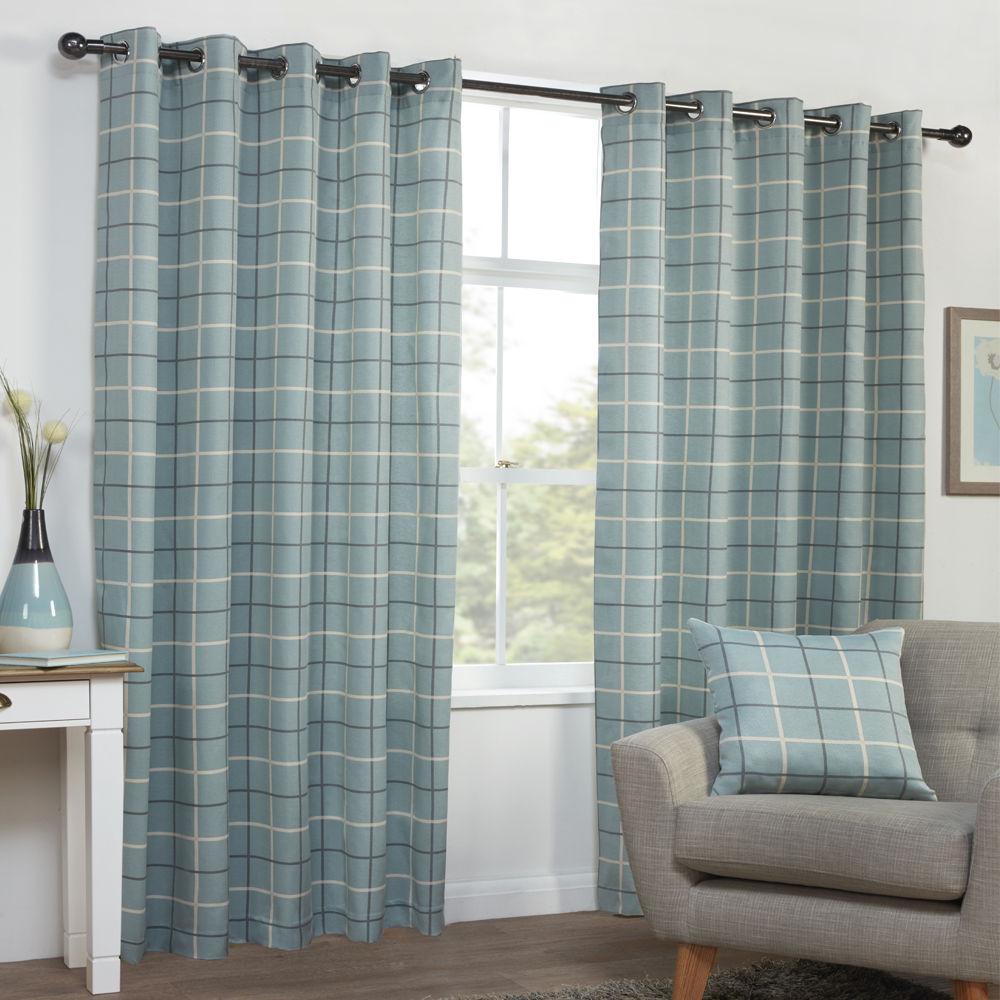 Tony-039-s-Textiles-Paire-de-rideaux-textures-motif-carreaux-accroche-oeillets