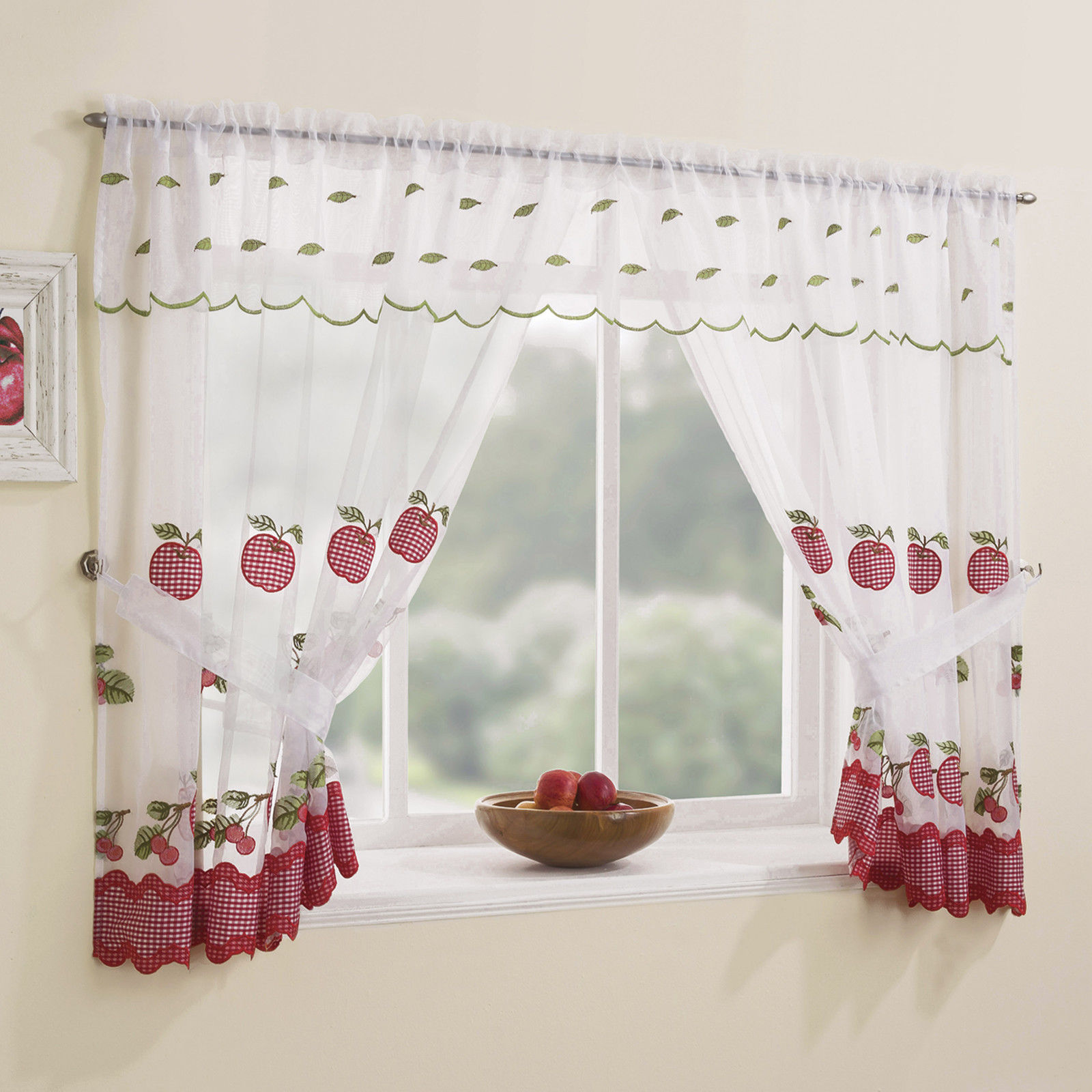 WINCHESTER KITCHEN WINDOW SET CHECK CURTAINS & TIE BACKS