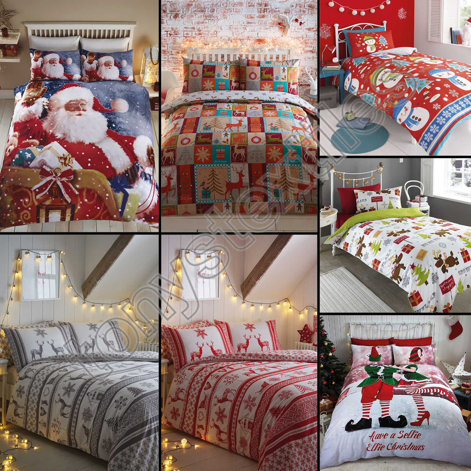 3pc christmas holiday santa snowflake comforter set twin queen king bed bedding. Black Bedroom Furniture Sets. Home Design Ideas