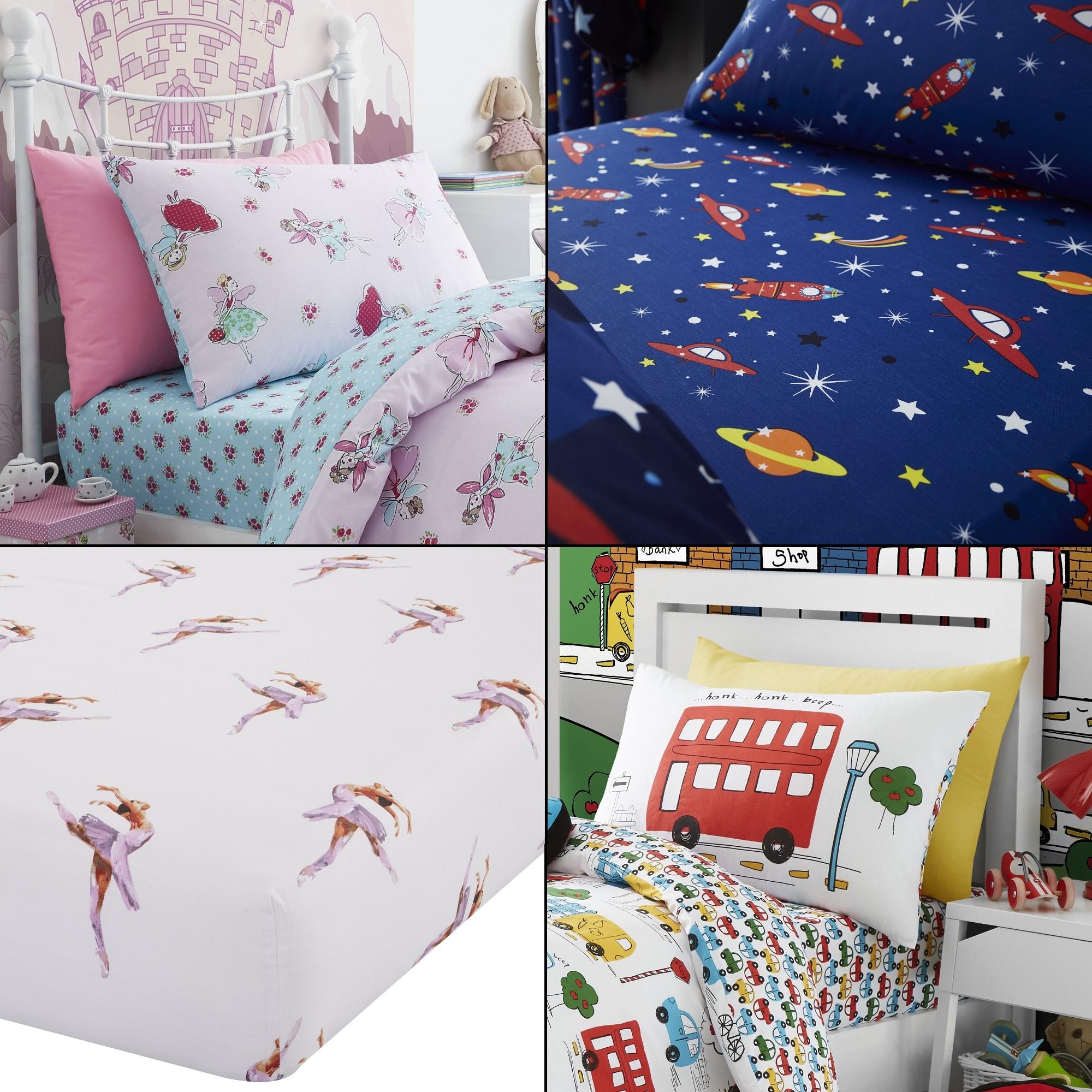 Colourful Kids Bedroom Bedding Sheet Princess Ballerina Unicorn