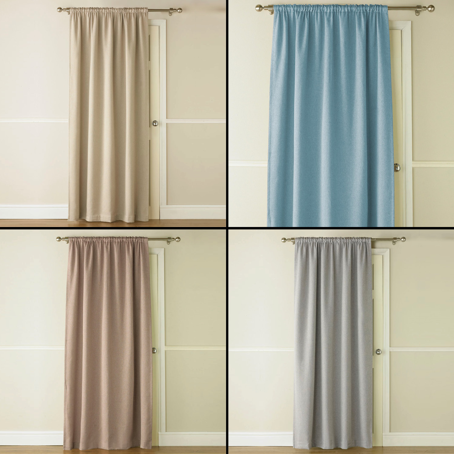 Sentinel Luxury Linen Look Blackout Thermal Door Curtain Panel With Rod Pocket Top
