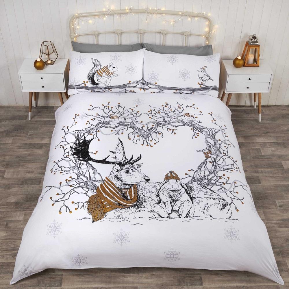 parure de lit housse de couette taie d 39 oreiller motif cerf no l festif ebay. Black Bedroom Furniture Sets. Home Design Ideas