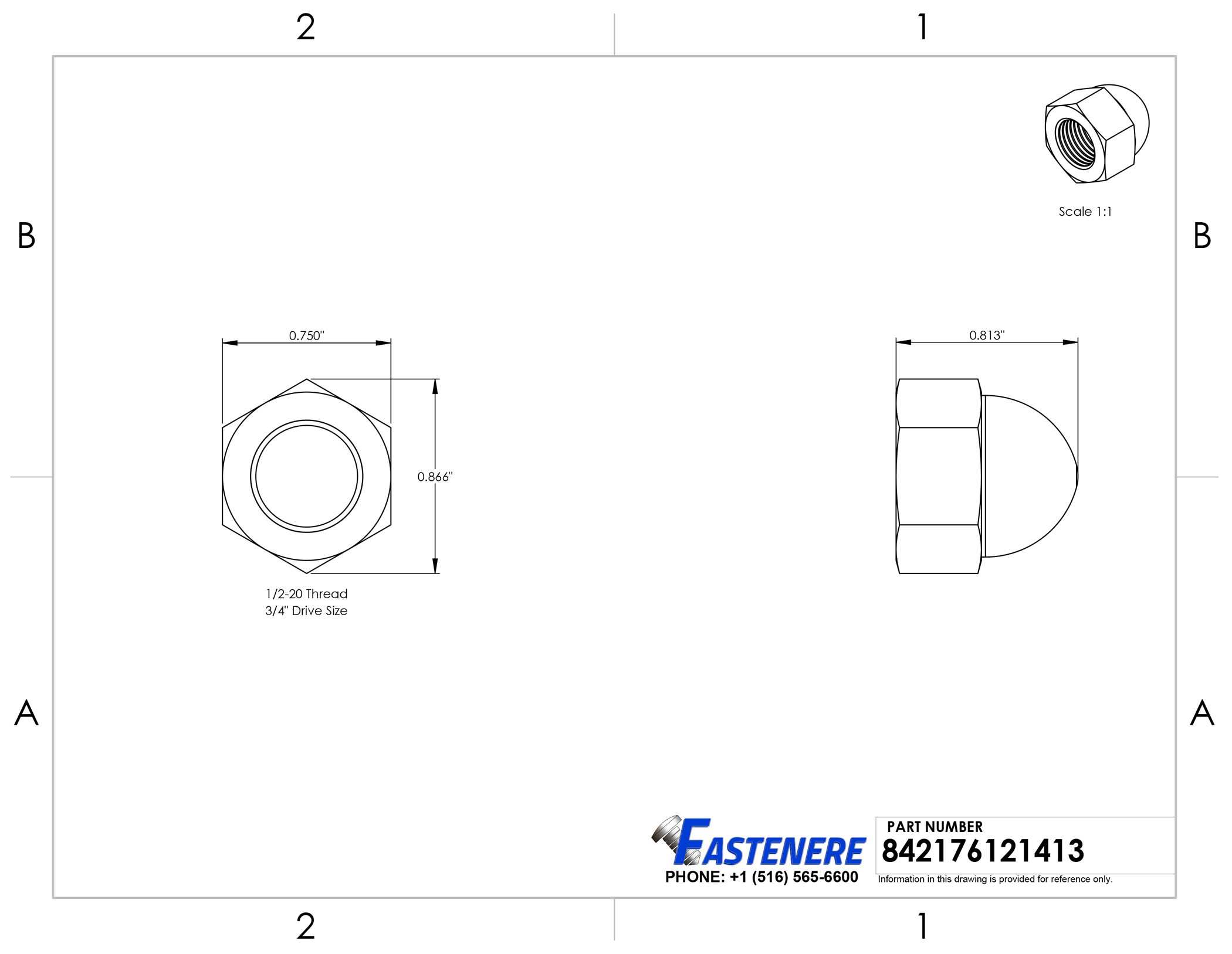 1/2-20 Acorn Cap Nuts Stainless Steel 18-8 Standard Height Quantity 10 Nakrętki kołpakowe