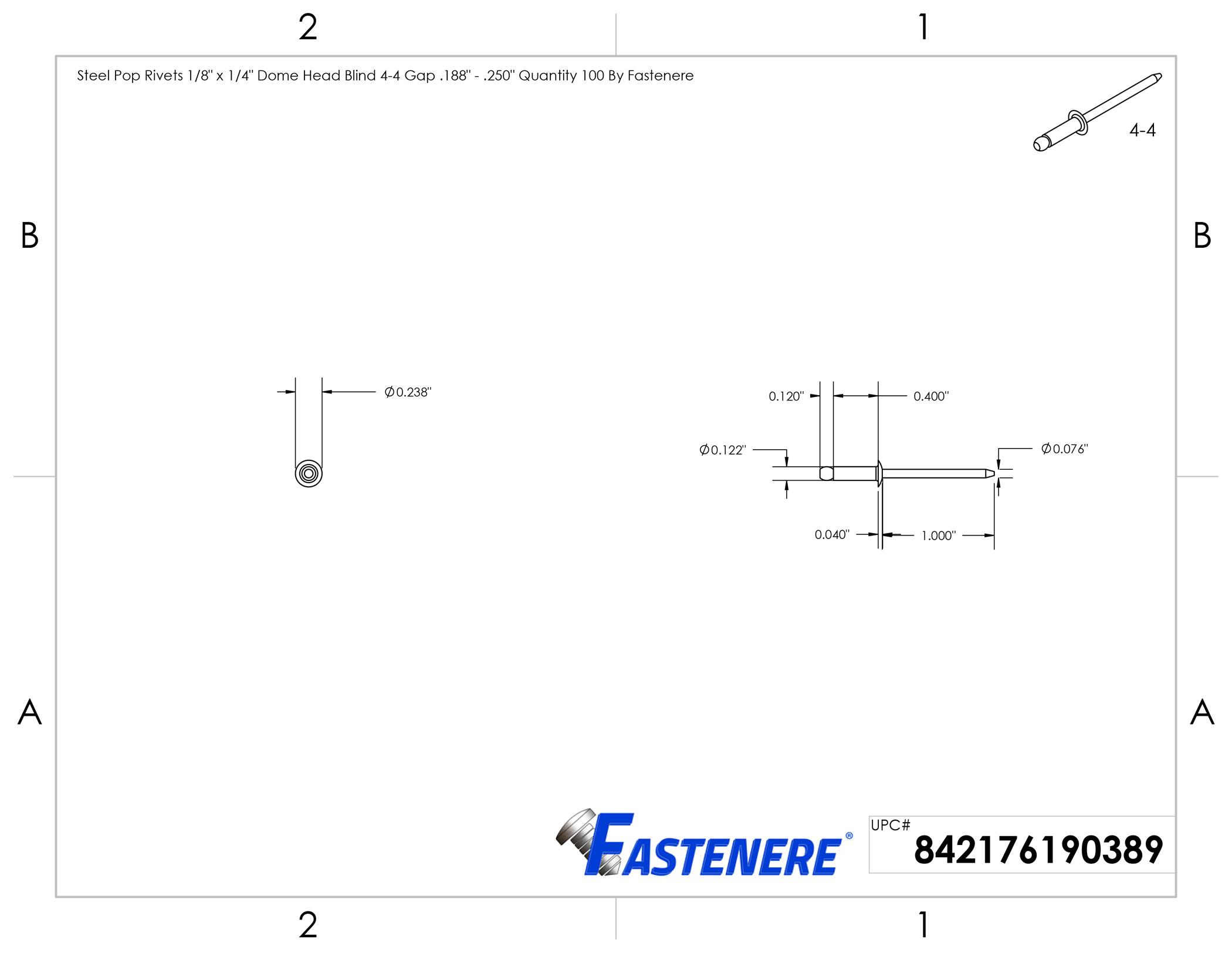 Steel POP Rivets ALL Steel Blind Rivet 4-4 1//8 x 1//4 Grip USA Made Qty 250