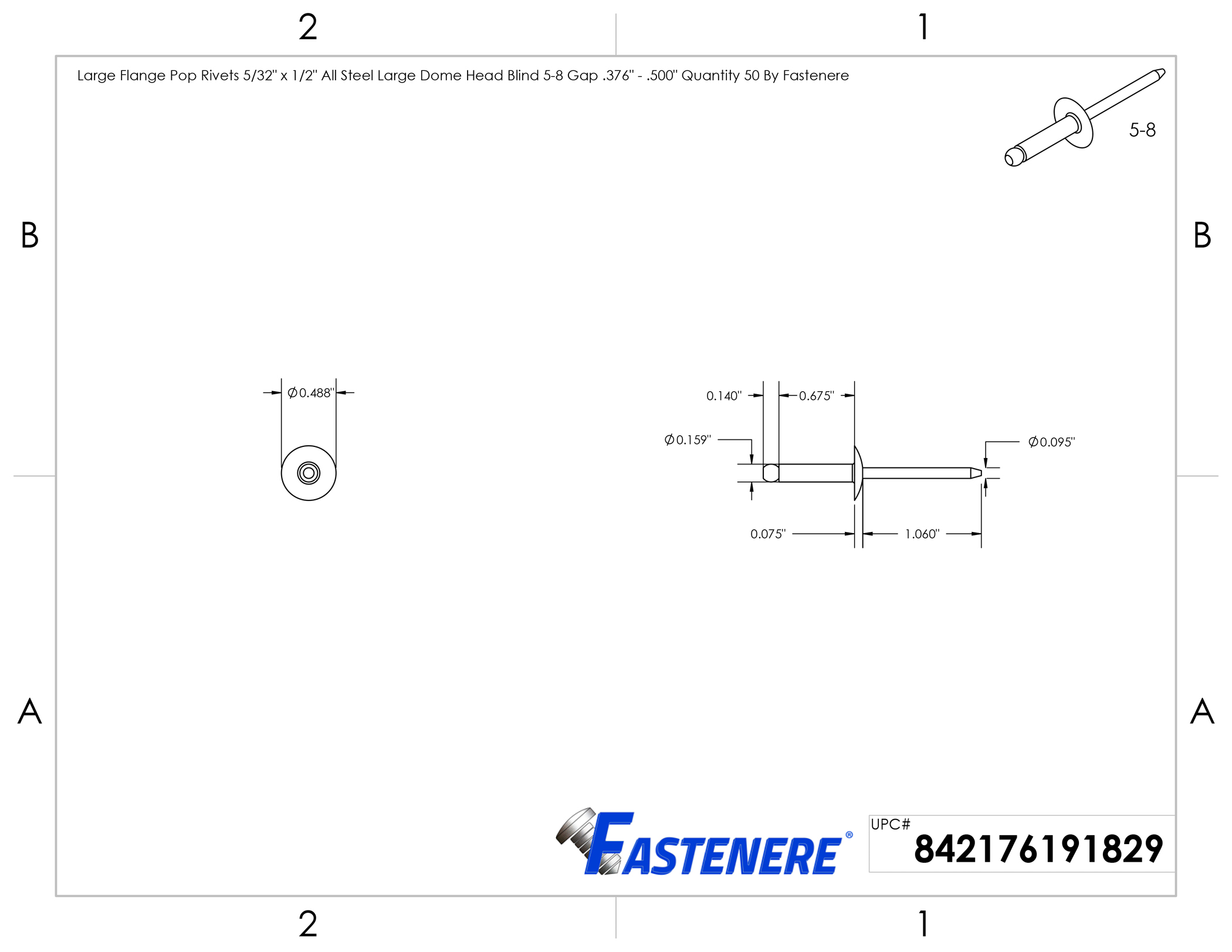 "POP Rivets ALL Stainless Steel 5-8 5//32/"" x 1//2/"" Grip Range QTY 25"