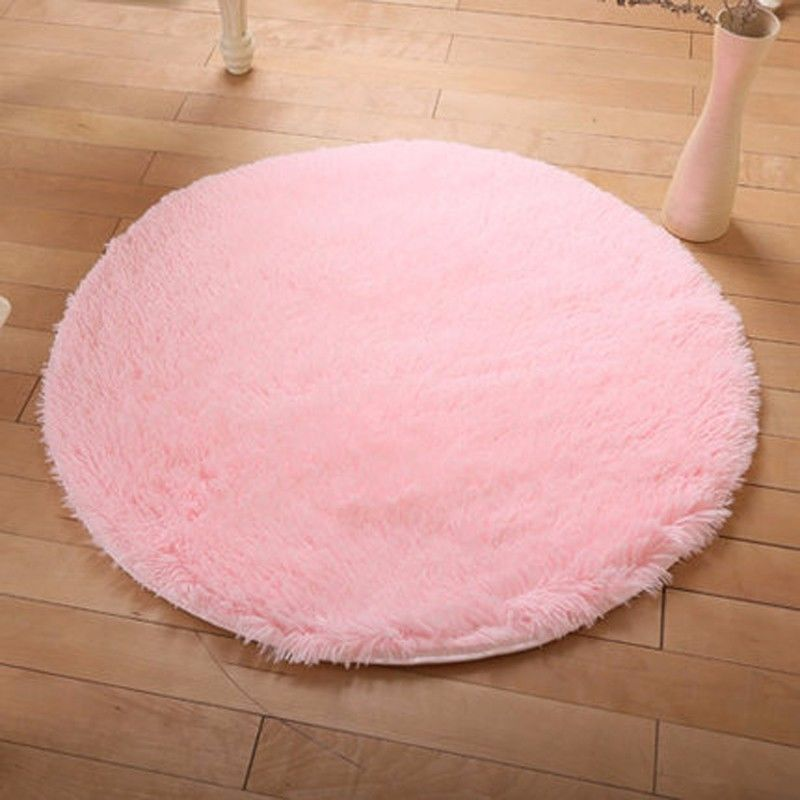 Hot Round Fluffy Rug Anti-Skid Shaggy Dining Room Home