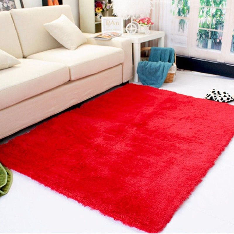 Rectangle soft fluffy rug anti skid shaggy study room for Bedroom rugs