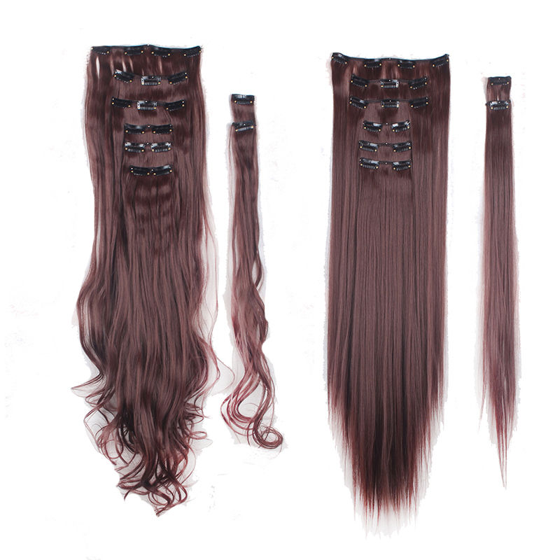 100 Natural Thick Clip In Hair Extensions 8 Pieces Full Head Long