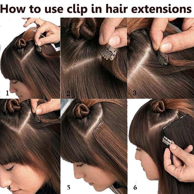 Us Stock 100 Straight Curly Real Natural Full Head Clipin 8pcs