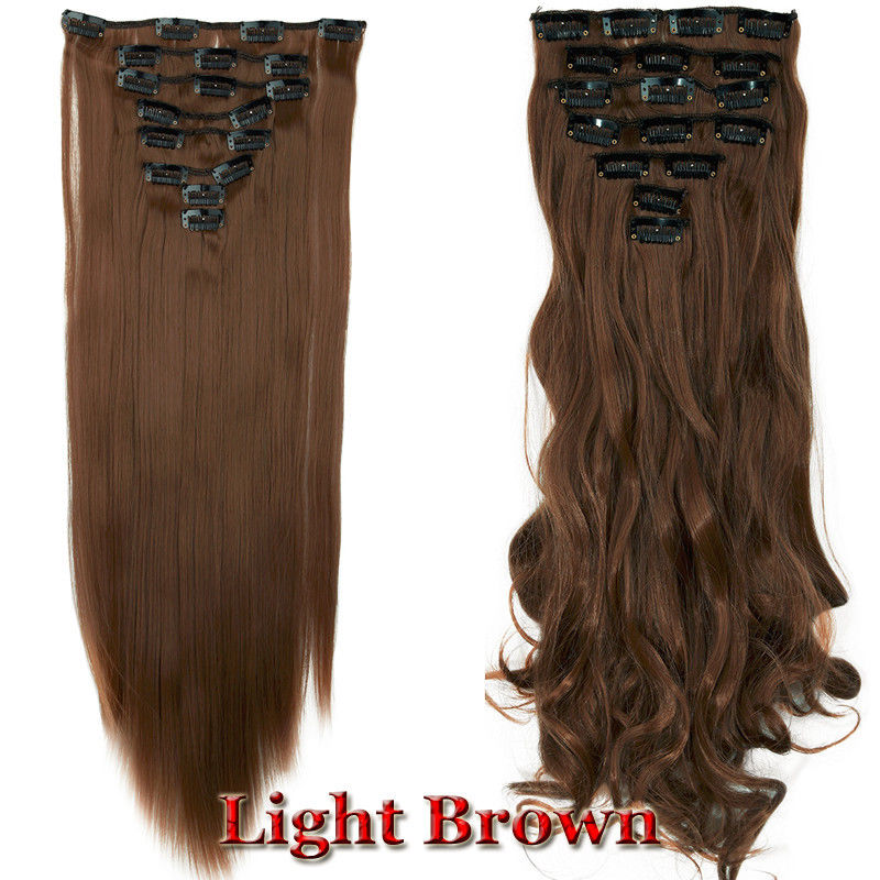 Real full head clip in hair extensions curly straight 8pieces as real full head clip in hair extensions curly pmusecretfo Image collections