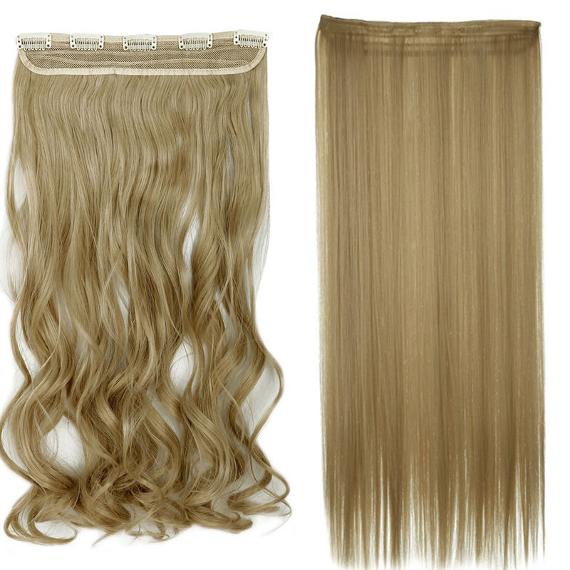 Dark Bright Blonde Mixed Clip In Hair Extensions Curly One Hairpiece