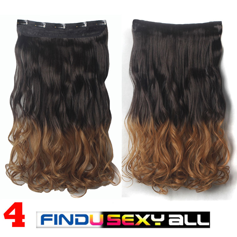 Thick Deluxe Clip In On Half Head Hair Extensions Long Straight Wavy